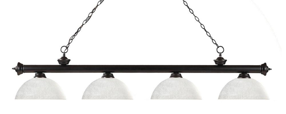 Filament Design 4-Light Bronze Billiard with White Linen Glass