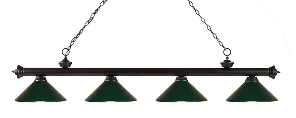 Filament Design 4-Light Bronze Island/Billiard with Dark Green Steel Shade - 80 inch