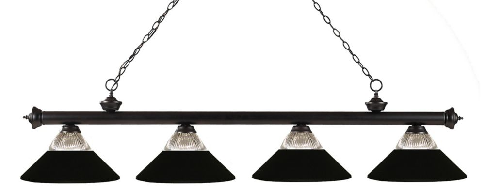 Filament Design 4-Light Bronze Island/Billiard with Clear Ribbed and Matte Black Glass and Steel Shade - 80 inch