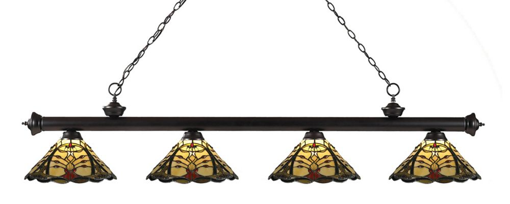 4-Light Bronze Dimmable Billiard with Multi Colored Tiffany Glass - 80 inch