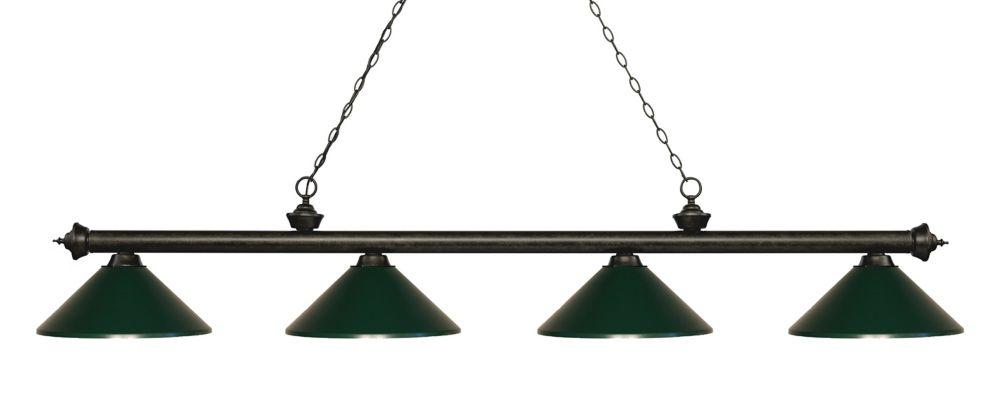 Filament Design 4-Light Golden Bronze Island/Billiard with Dark Green Steel Shade - 80.75 inch