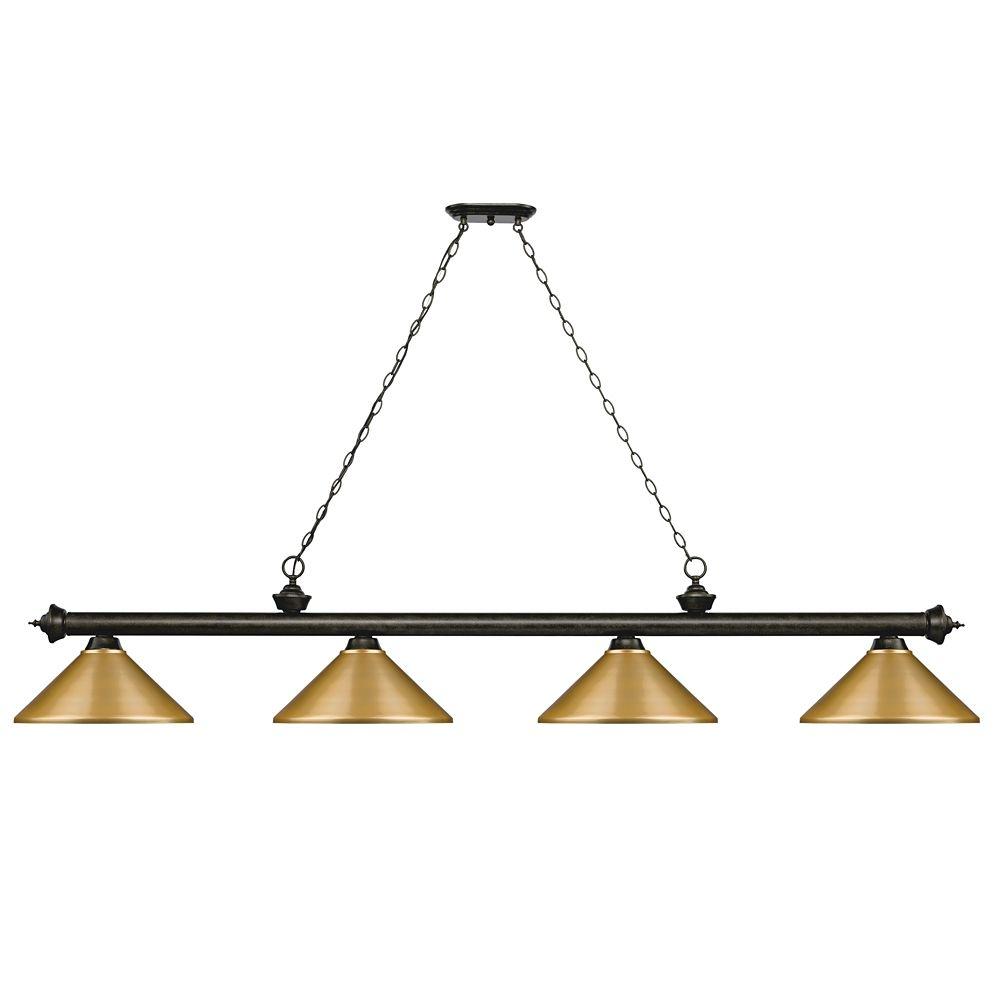 Filament Design 4-Light Golden Bronze Island/Billiard with Satin Gold Steel Shade - 80.75 inch