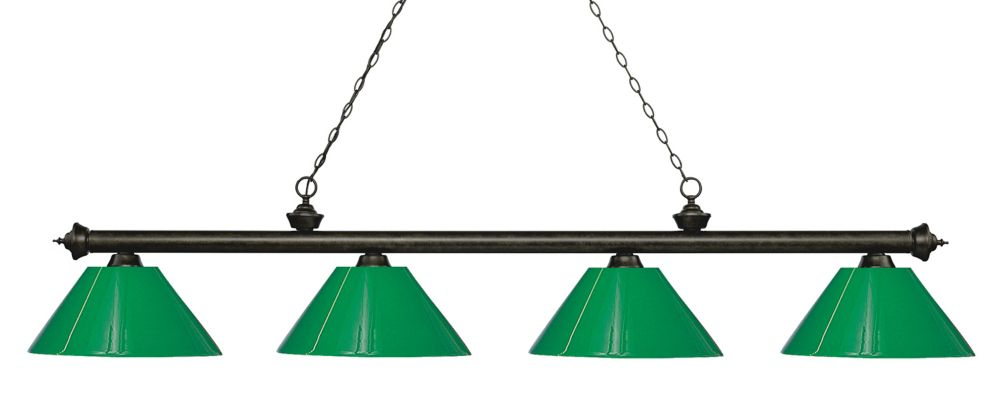 Filament Design 4-Light Golden Bronze Island/Billiard with Green Plastic - 80.5 inch