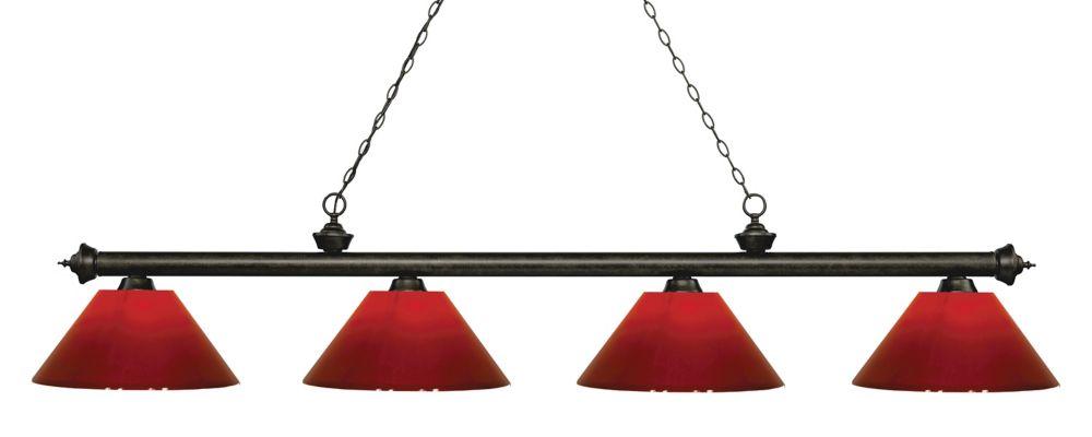 Filament Design 4-Light Golden Bronze Island/Billiard with Red Plastic - 80.5 inch