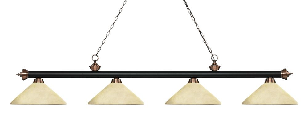 4-Light Matte Black and Antique Copper Island/Billiard with Golden Mottle Glass - 80.25 inch