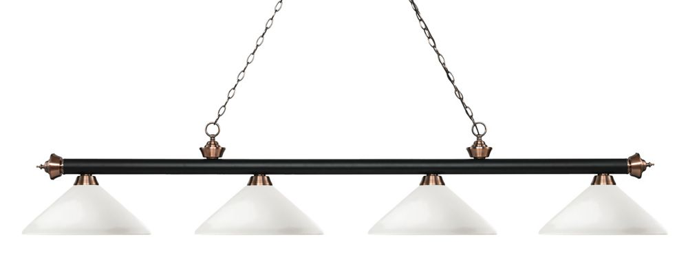 Filament Design 4-Light Matte Black and Antique Copper Island/Billiard with Matte Opal Glass - 80.25 inch