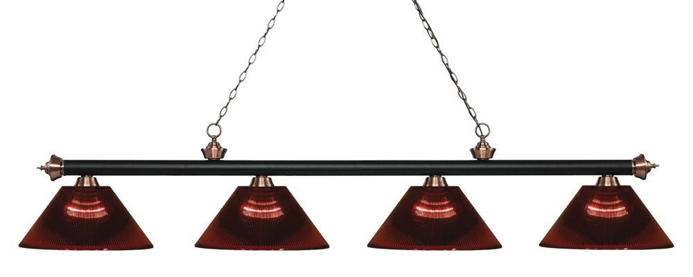 Filament Design Billard / îlot en cuivre mat à 4 lumières, noir antique et abat-jour en acrylique bourgogne - 80,75 pouces