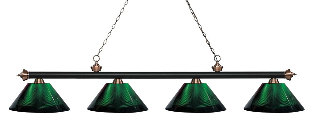 Filament Design 4-Light Matte Black and Antique Copper Island/Billiard with Green Acrylic Shade - 80.75 inch