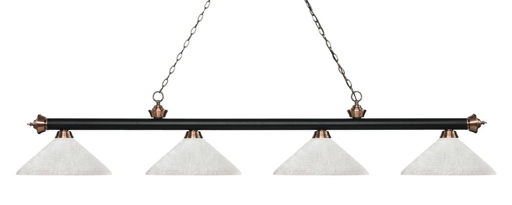 Filament Design 4-Light Matte Black and Antique Copper Island/Billiard with White Linen Glass - 80.25 inch