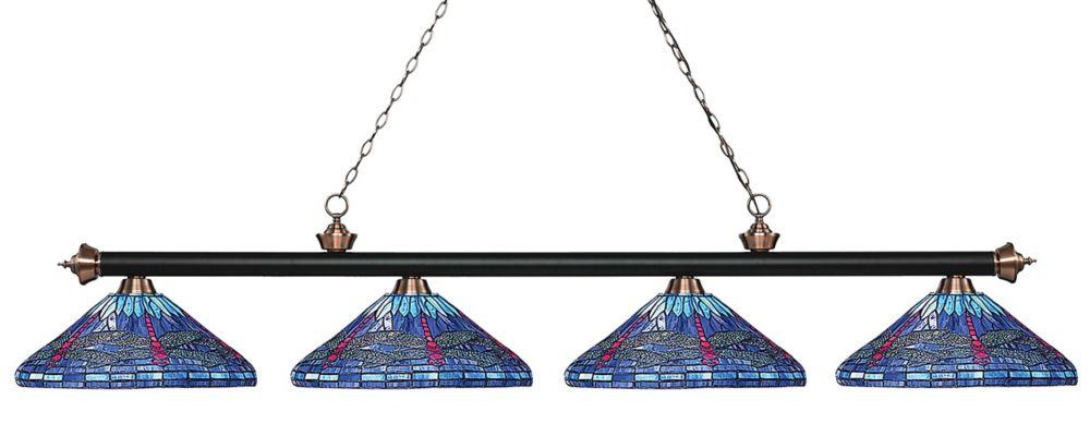 Filament Design 4-Light Matte Black and Antique Copper Island/Billiard with Multi Colored Tiffany Glass - 83.5 inch