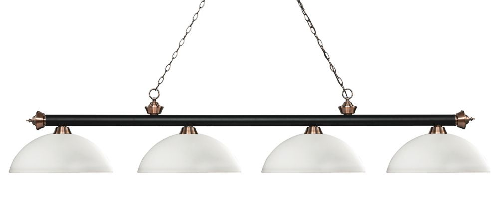 Filament Design 4-Light Matte Black and Antique Copper Island/Billiard with Matte Opal Glass - 80 inch