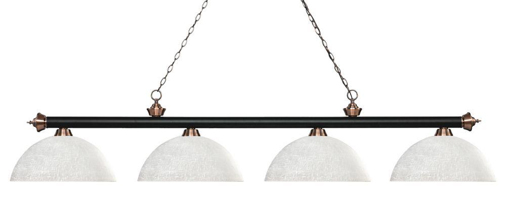 Filament Design 4-Light Matte Black and Antique Copper Island/Billiard with White Linen Glass - 80 inch