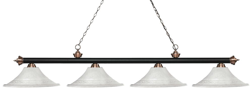 4-Light Matte Black and Antique Copper Island/Billiard with White Mottle Glass - 83 inch