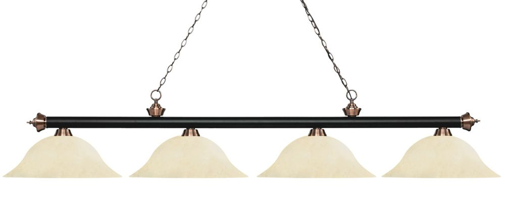 Filament Design 4-Light Matte Black and Antique Copper Island/Billiard with Golden Mottle Glass - 82.5 inch