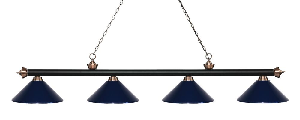 Filament Design 4-Light Matte Black and Antique Copper Island/Billiard with Navy Blue Steel Shade - 80.75 inch