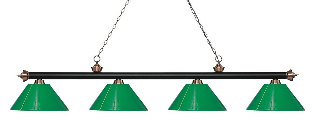 Filament Design 4-Light Matte Black and Antique Copper Island/Billiard with Green Plastic - 80.5 inch