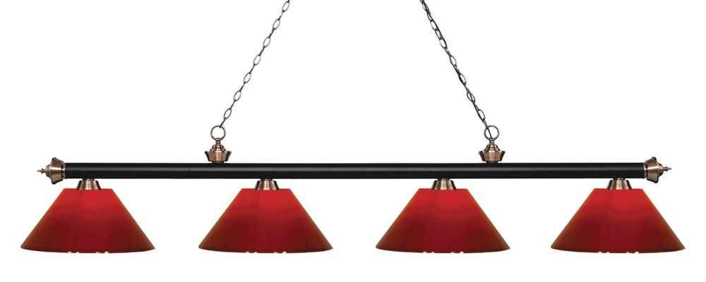 Filament Design 4-Light Matte Black and Antique Copper Island/Billiard with Red Plastic - 80.5 inch
