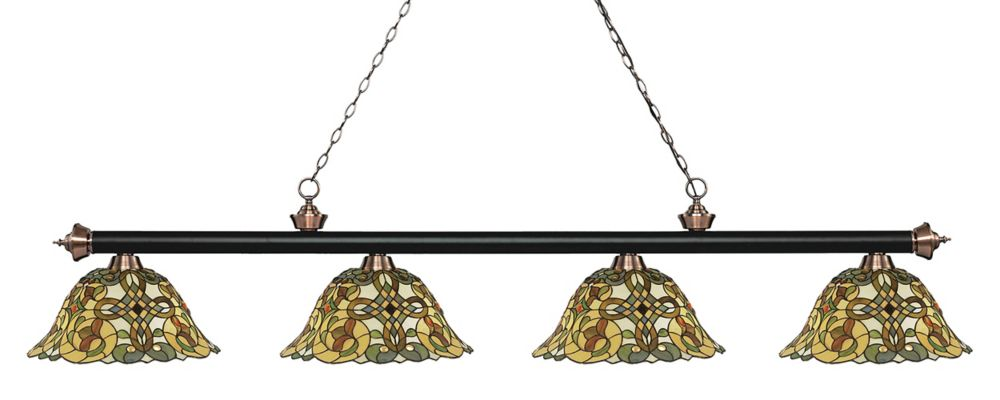 4-Light Matte Black and Antique Copper Billiard with Tiffany Glass - 80.5 inch