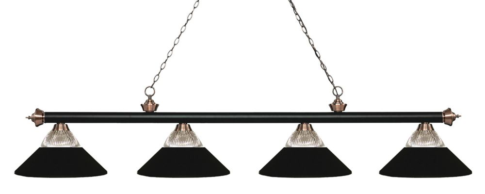 4-Light Matte Black and Antique Copper Island/Billiard - 80.75 inch