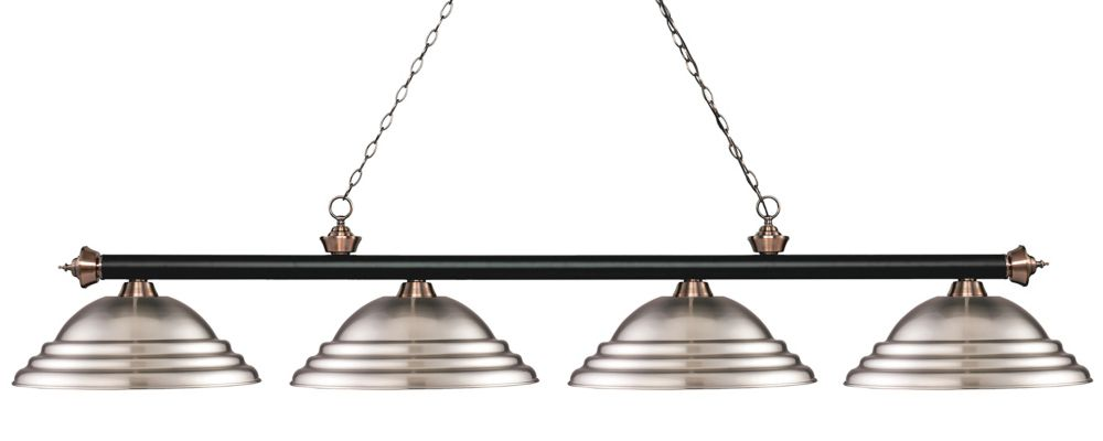 Filament Design 4-Light Matte Black and Antique Copper Island/Billiard with Brushed Nickel Steel Shade - 82.25 inch