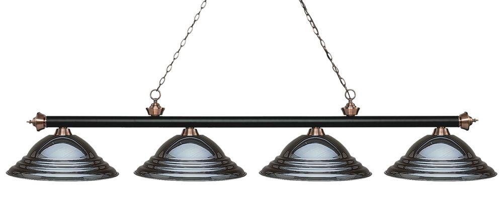 Filament Design 4-Light Matte Black and Antique Copper Island/Billiard with Gun Metal Steel Shade - 82.25 inch