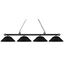 Filament Design Billard / îlot en cuivre mat à 4 lumières, noir antique et abat-jour en acier noir mat