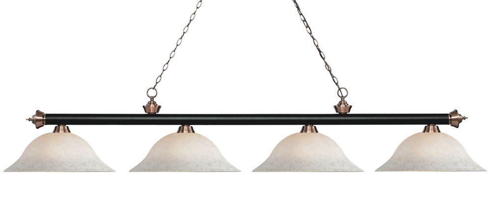 Filament Design 4-Light Matte Black and Antique Copper Island/Billiard with White Mottle Glass - 82.5 inch