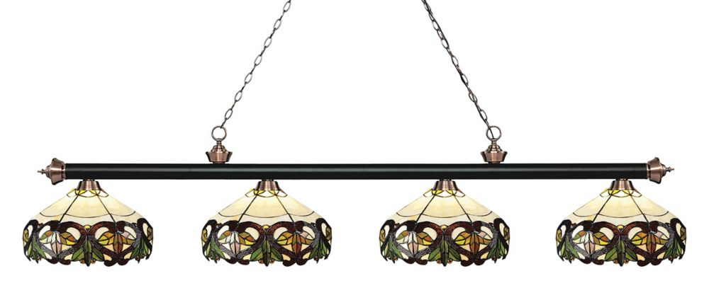 4-Light Matte Black and Antique Copper Billiard with Tiffany Glass Shades