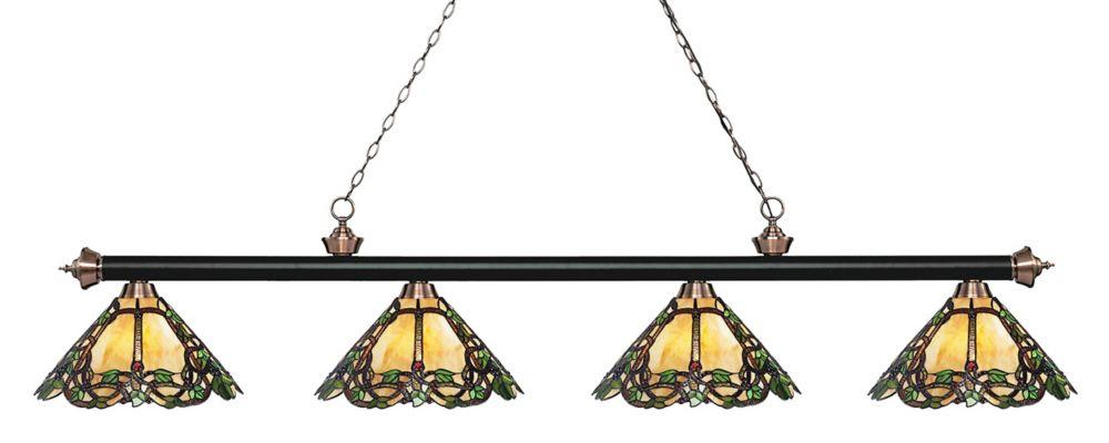 4-Light Matte Black and Antique Copper Billiard with Multi Colored Tiffany Glass Shades