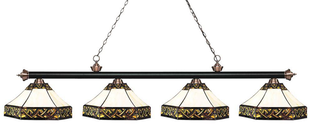 4-Light Matte Black and Antique Copper Island/Billiard with Multi Colored Tiffany Glass - 82.5 inch