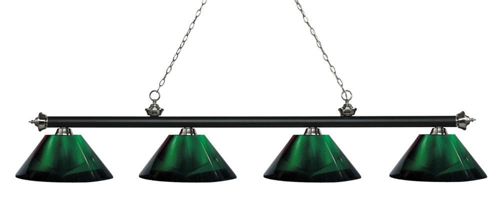 Filament Design 4-Light Matte Black and Brushed Nickel Island/Billiard with Green Acrylic Shade - 80.75 inch