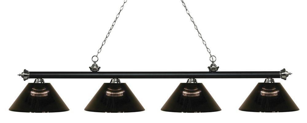 4-Light Matte Black and Brushed Nickel Island/Billiard with Smoke Acrylic Shade - 80.75 inch