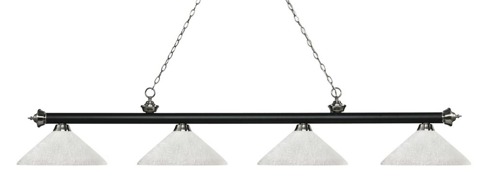 Filament Design 4-Light Matte Black and Brushed Nickel Island/Billiard with White Linen Glass - 80.25 inch