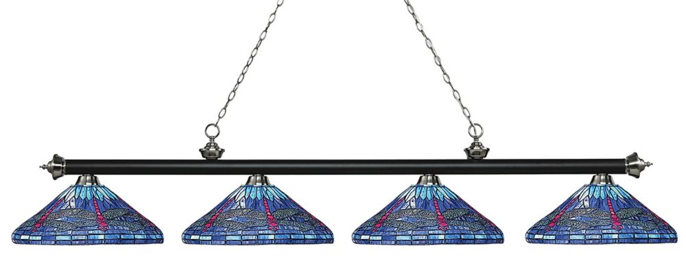 Filament Design 4-Light Matte Black and Brushed Nickel Island/Billiard with Multi Colored Tiffany Glass - 83.5 inch