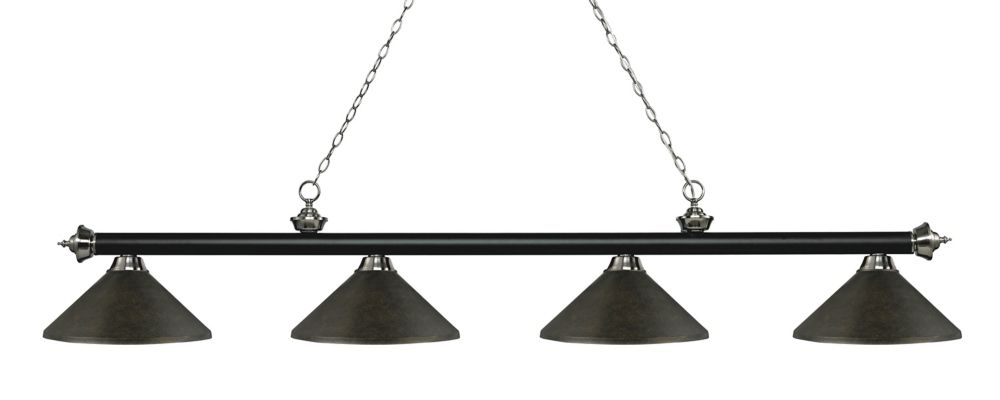 Filament Design 4-Light Matte Black and Brushed Nickel Island/Billiard with Golden Bronze Steel Shade - 80.75 inch