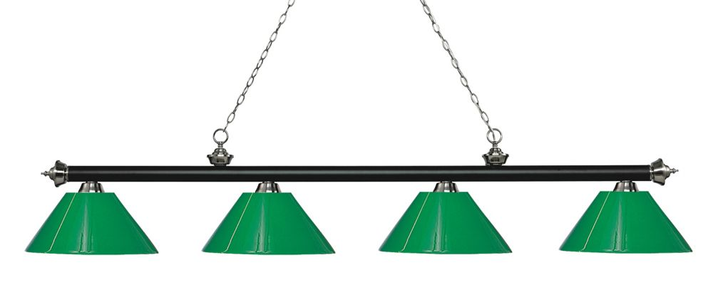 4-Light Matte Black and Brushed Nickel Island/Billiard with Green Plastic - 80.5 inch