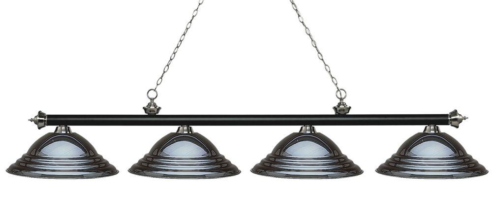 Filament Design 4-Light Matte Black and Brushed Nickel Island/Billiard with Gun Metal Steel Shade - 82.25 inch