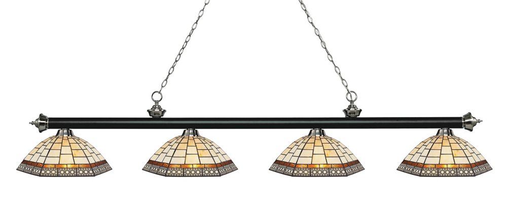 Filament Design 4-Light Matte Black and Brushed Nickel Island/Billiard with Multi Colored Tiffany Glass - 80.75 inch