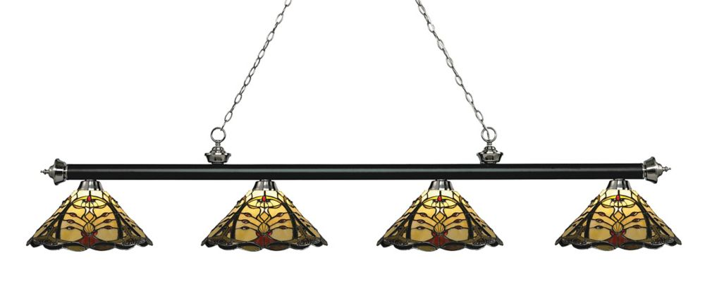 4-Light Matte Black and Brushed Nickel Billiard with Multi Colored Tiffany Glass - 80.5 inch