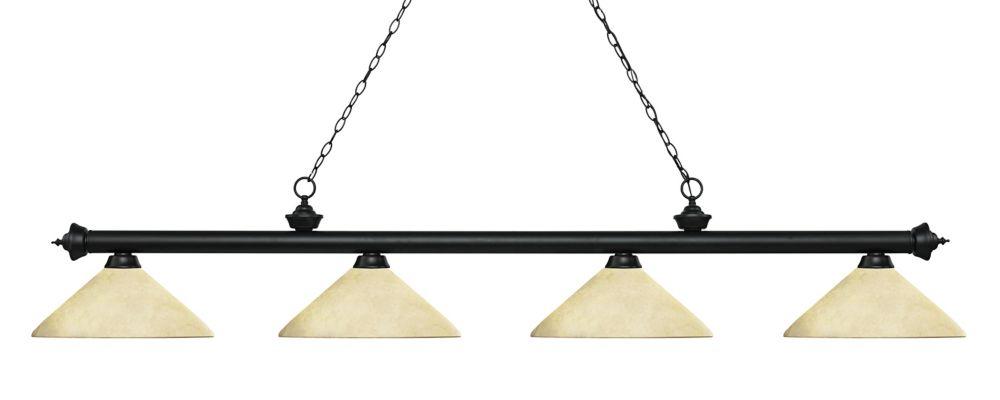 Filament Design 4-Light Matte Black Island/Billiard with Golden Mottle Glass - 80.25 inch