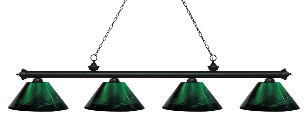 Filament Design 4-Light Matte Black Island/Billiard with Green Acrylic Shade - 80.75 inch
