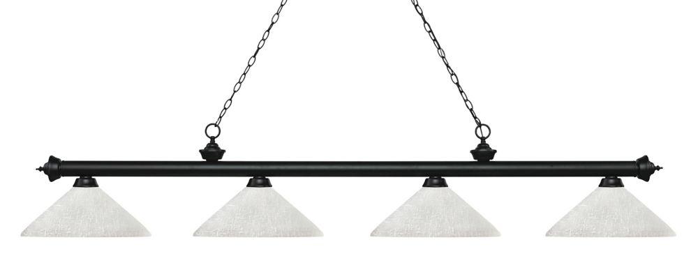 Filament Design 4-Light Matte Black Island/Billiard with White Linen Glass - 80.25 inch