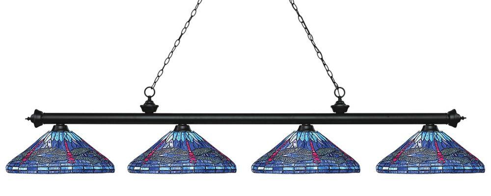 Filament Design 4-Light Matte Black Island/Billiard with Multi Colored Tiffany Glass - 83.5 inch