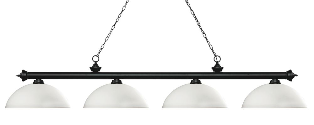 4-Light Matte Black Island/Billiard with Matte Opal Glass - 80 inch