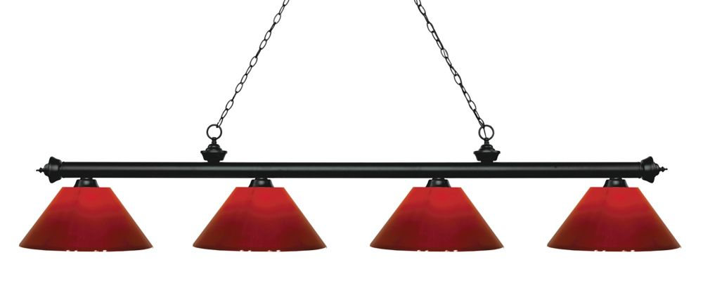 Filament Design 4-Light Matte Black Island/Billiard with Red Plastic - 80.5 inch