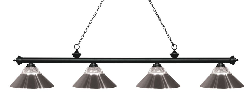 Filament Design 4-Light Matte Black Island/Billiard with Clear Ribbed and Brushed Nickel Glass and Steel Shade