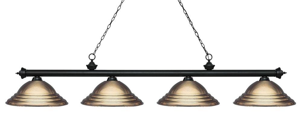 Filament Design 4-Light Matte Black Island/Billiard with Antique Brass Steel Shade - 82 inch