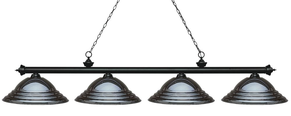 Filament Design 4-Light Matte Black Island/Billiard with Gun Metal Steel Shade - 82.25 inch