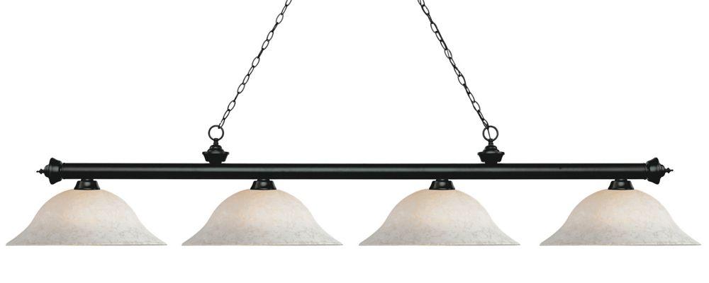 Filament Design 4-Light Matte Black Island/Billiard with White Mottle Glass - 82.5 inch