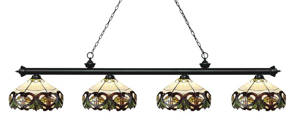 4-Light Matte Black Billiard with Multi Colored Tiffany Glass Shades